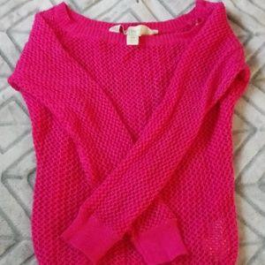Pink Long sleeve Mesh Top
